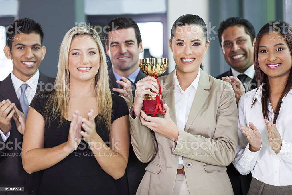 business team winning a competetition stock photo