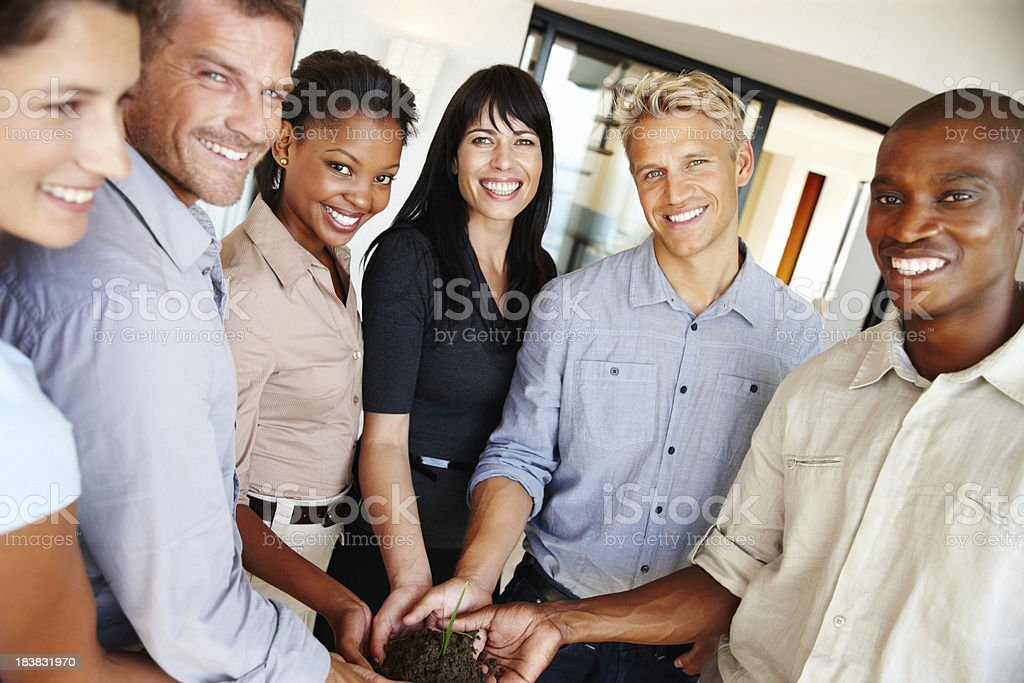 Business team with a plant royalty-free stock photo
