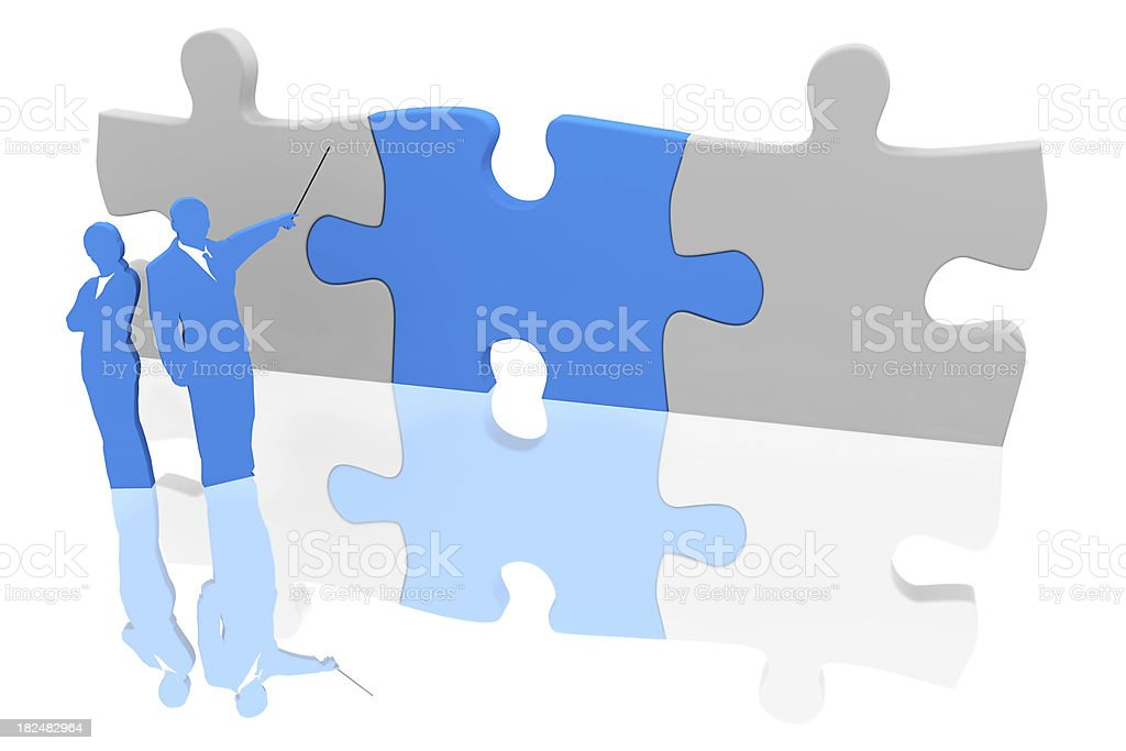 Business team with jigsaw solution stock photo