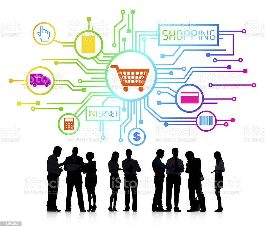 Business Team with Online Shopping Concept stock photo
