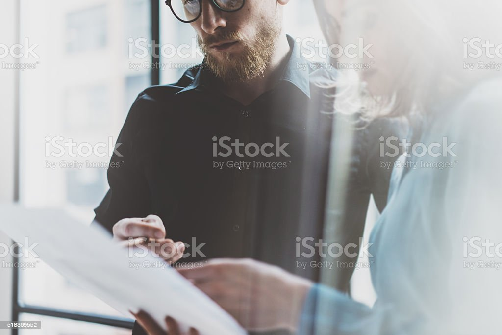 Business team work process modern office.Photo professional crew working stock photo