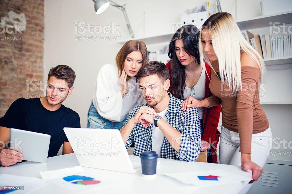Business team working hard stock photo