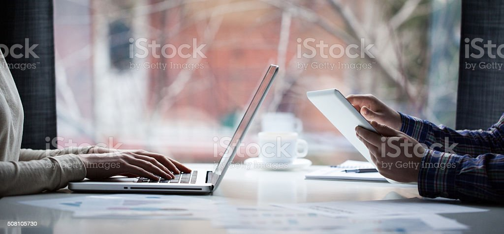 Business team working in an office stock photo