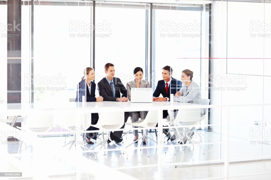 Business Team Working on a Laptop royalty-free stock photo
