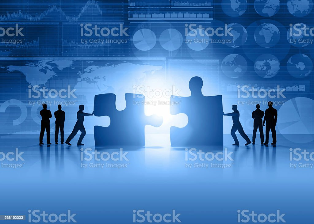 Business teamwork and global finance blue background stock photo