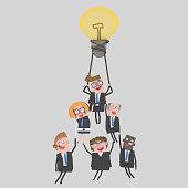 Business teamwork flying on hot air balloon idea.