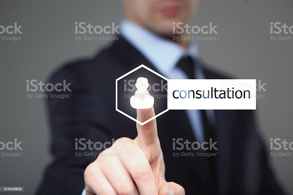 business, technology, internet and networking concept - businessman pressing consultation stock photo