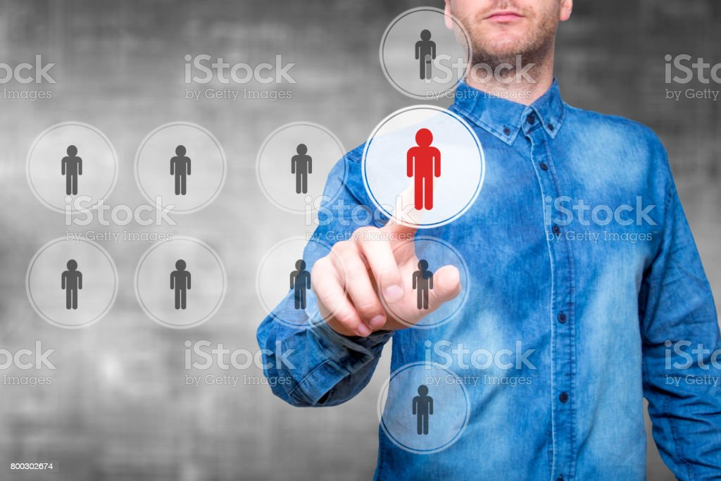 business, technology, internet, networking and recruitment concept - man pressing button on virtual screens stock photo