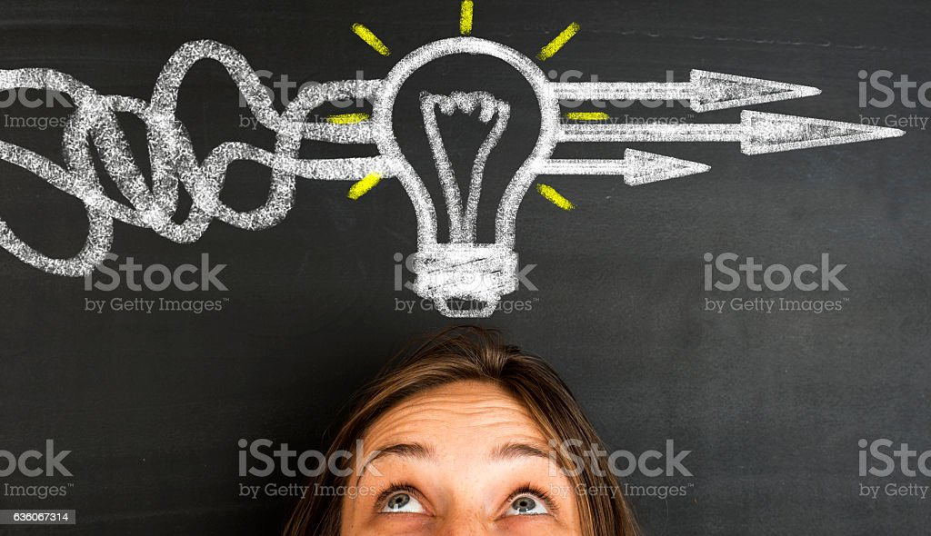 Business Thinking about structuring business process and solutions stock photo