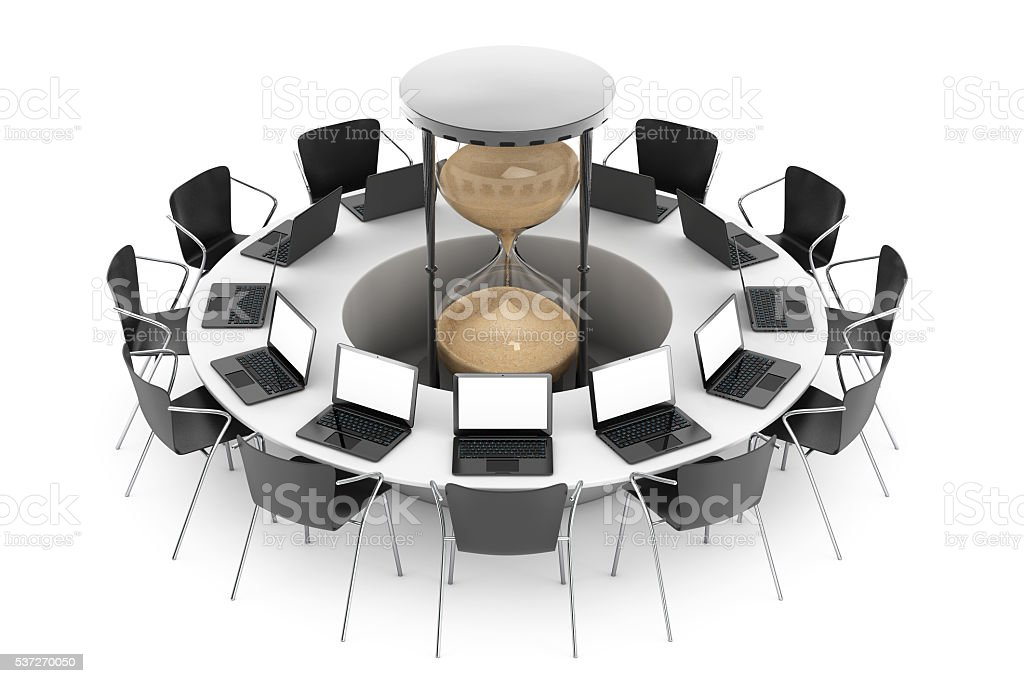 Business Time Concept. Chairs around a Table with Sand Clock stock photo