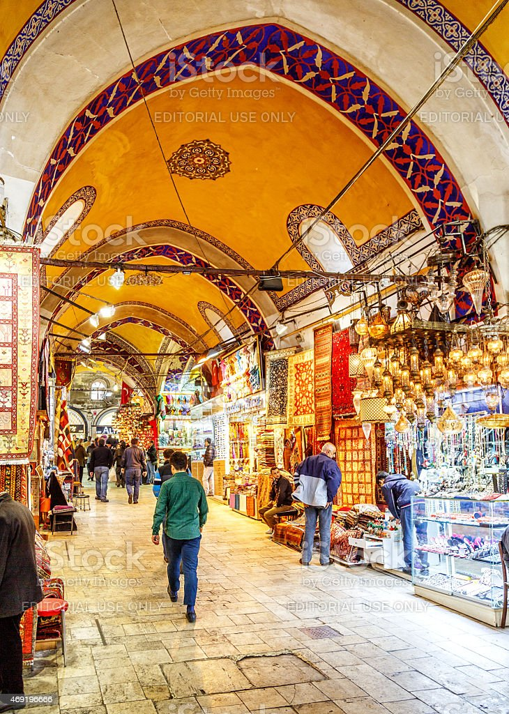 Business time in Grand Bazaar Istanbul, Turkey. stock photo