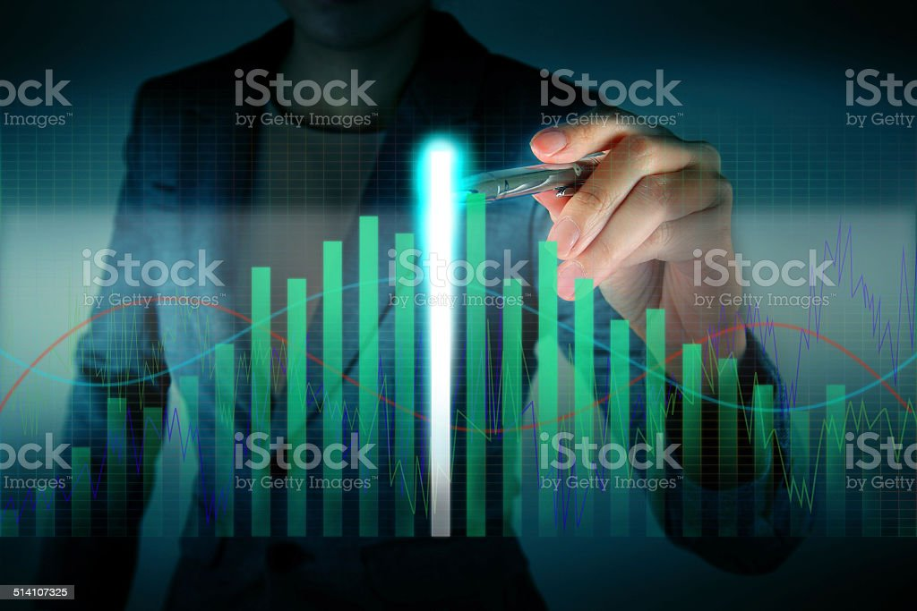 Business touch the highest graph stock photo