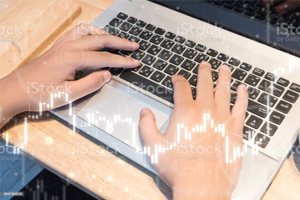 business trading concept : man trade stock and forex stock photo