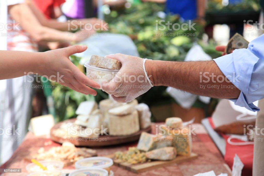 Business Transaction at Farmer's Market stock photo