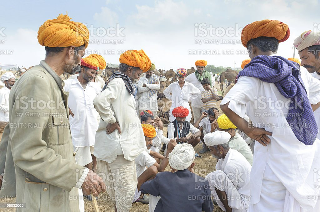 Business Transaction at Pushkar Camel Fair stock photo