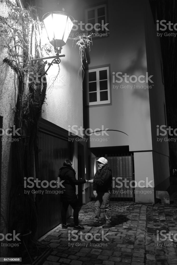 Business Transaction in the Dark Street stock photo