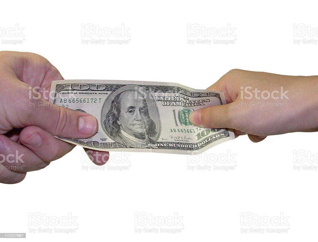 business transaction / power struggle / giving & spen stock photo