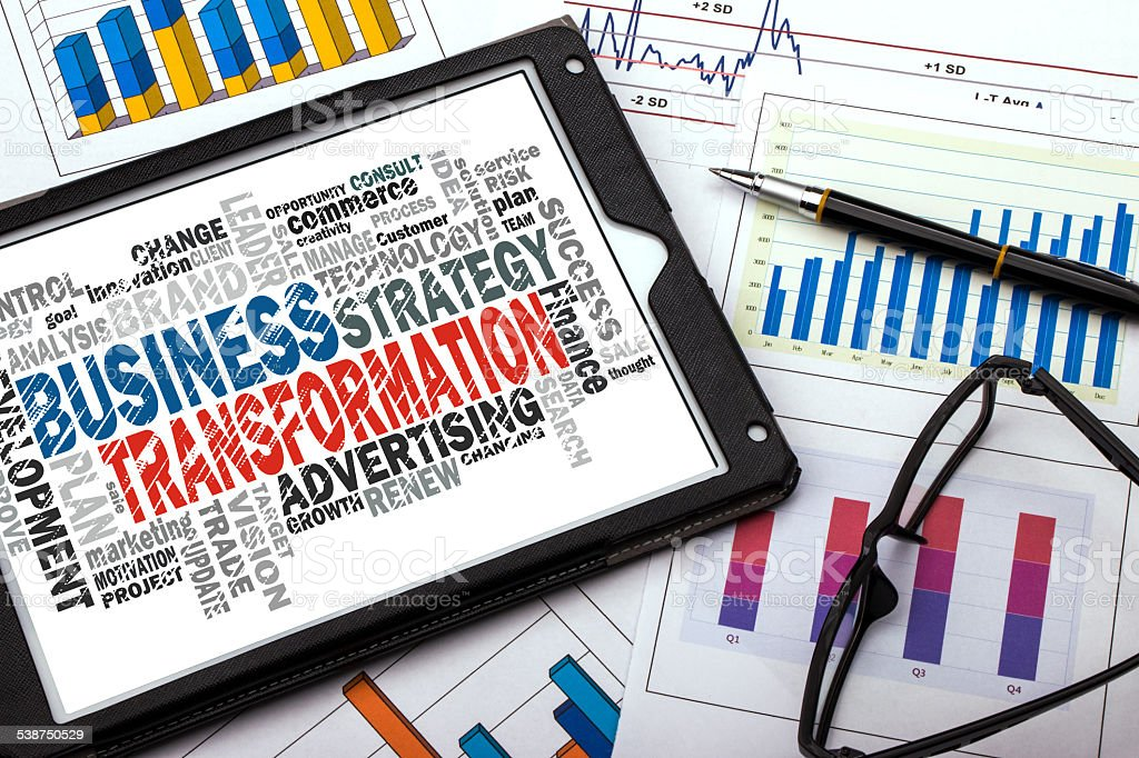 business transformation word cloud stock photo