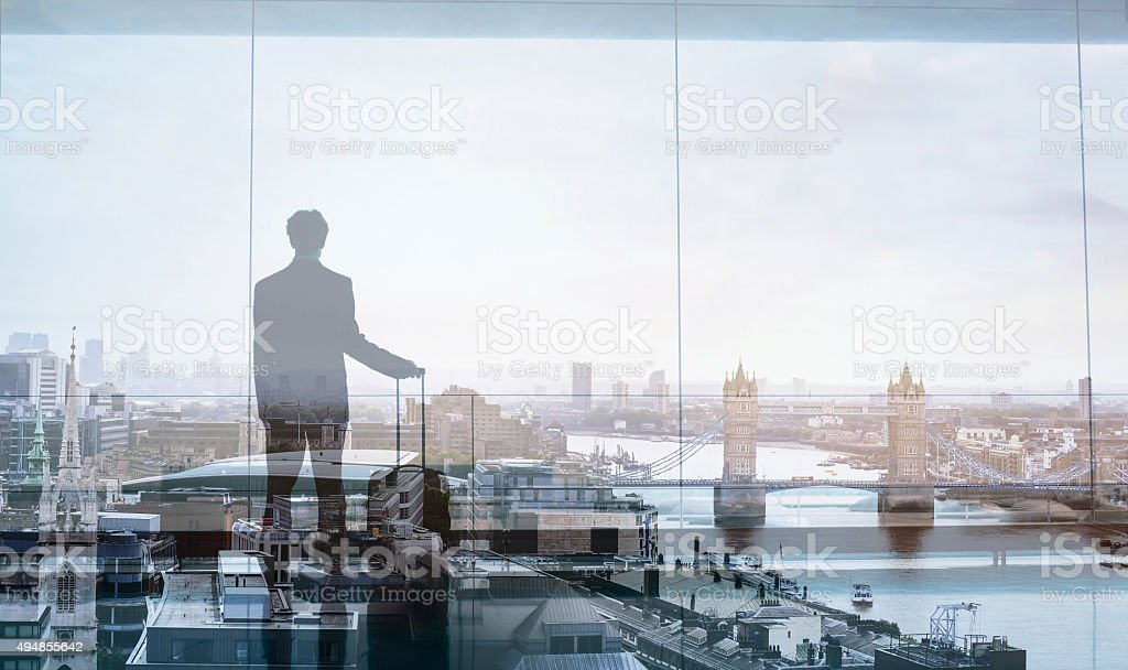 business travel, double exposure stock photo