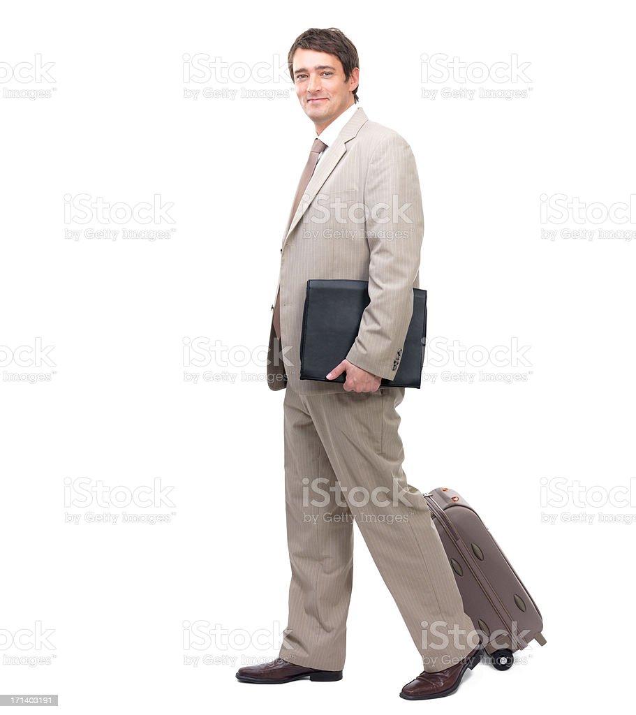 Business travel, happy man ready to go royalty-free stock photo