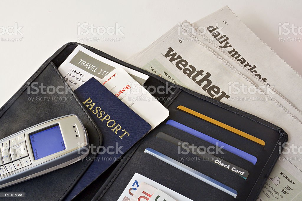Business Travel Wallet with Passport, Credit Cards, Cell Phone Organized royalty-free stock photo