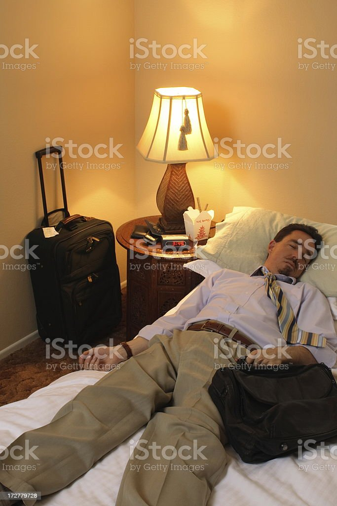 Business Traveler Dead Asleep stock photo