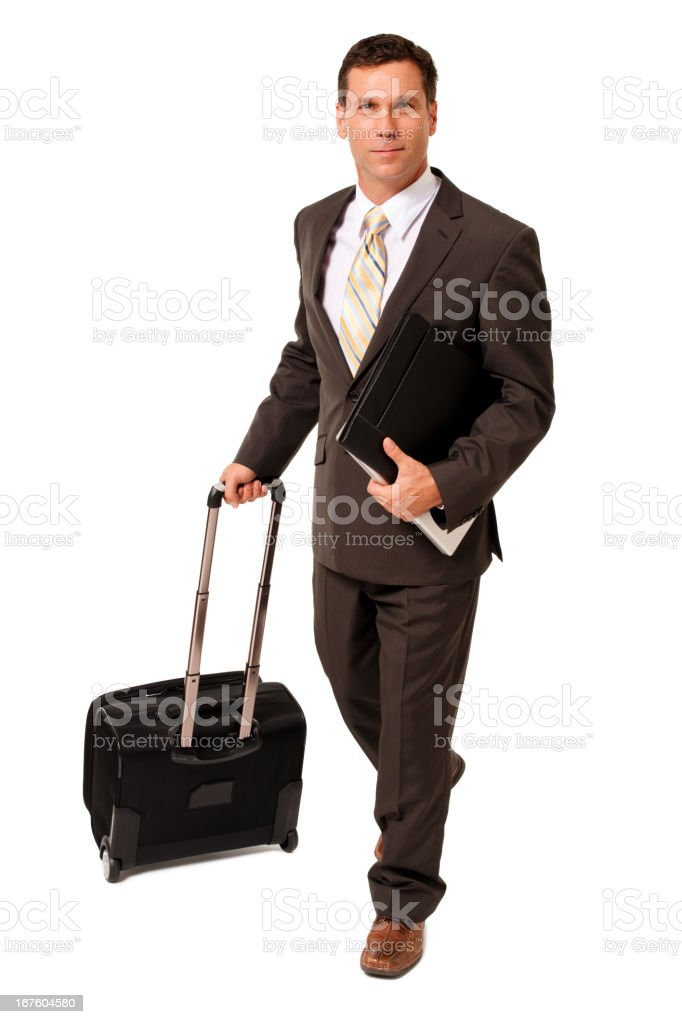 Business Traveler with Computer and Rolling Suitcase on White stock photo