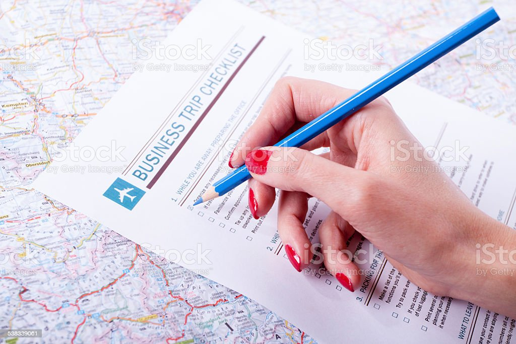 Business trip check list stock photo