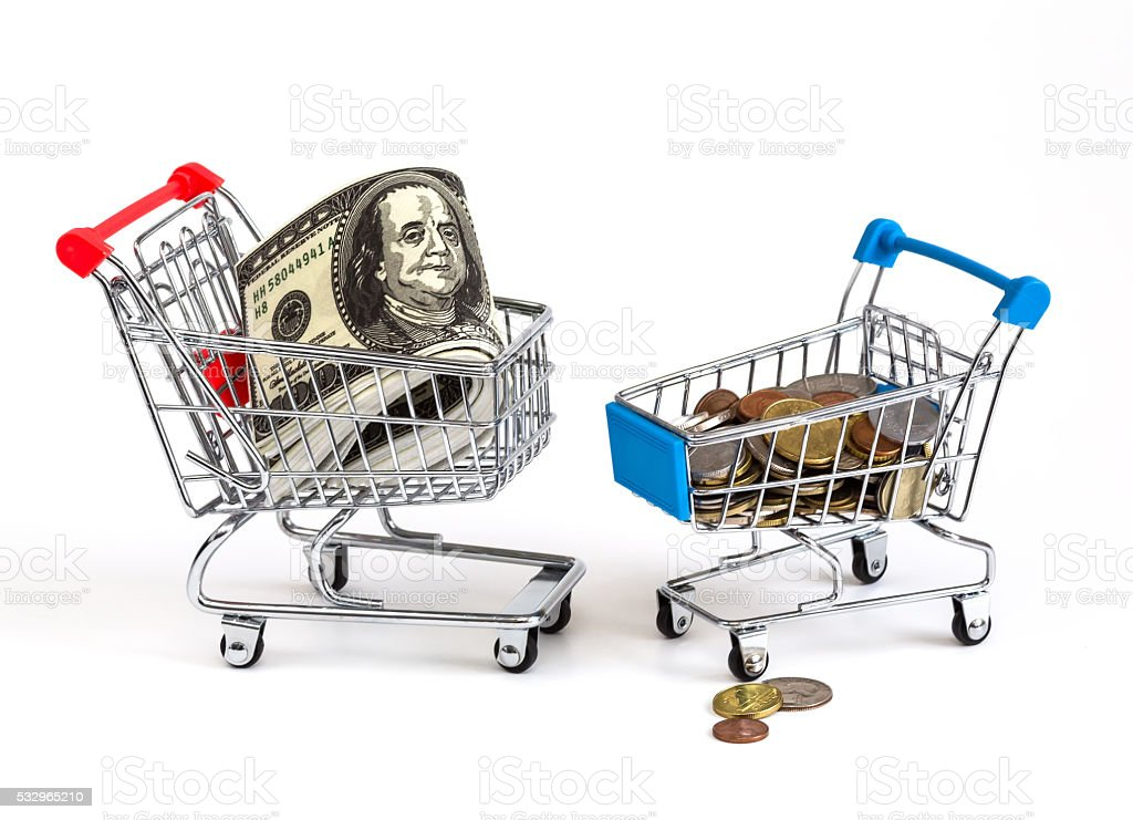 business trolley with money stock photo