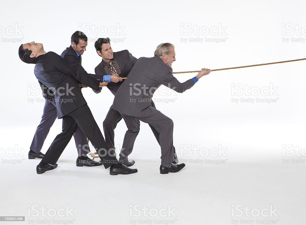 Business tug of war stock photo