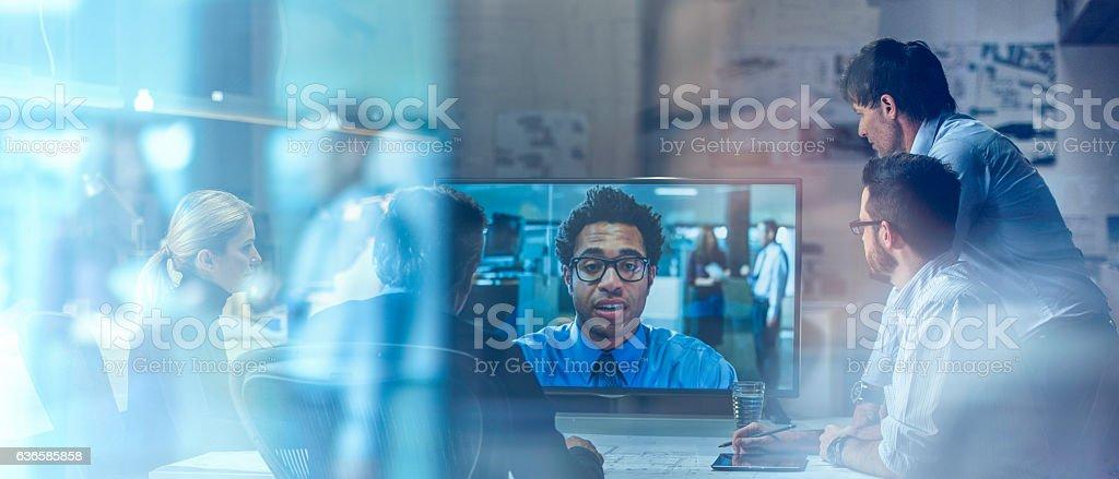 Business video communication stock photo