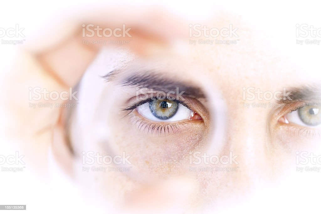 Business vision: looking through a lens stock photo