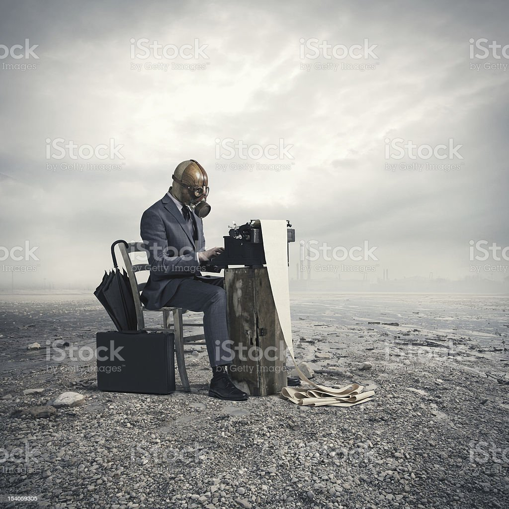 business wearing a gas mask stock photo