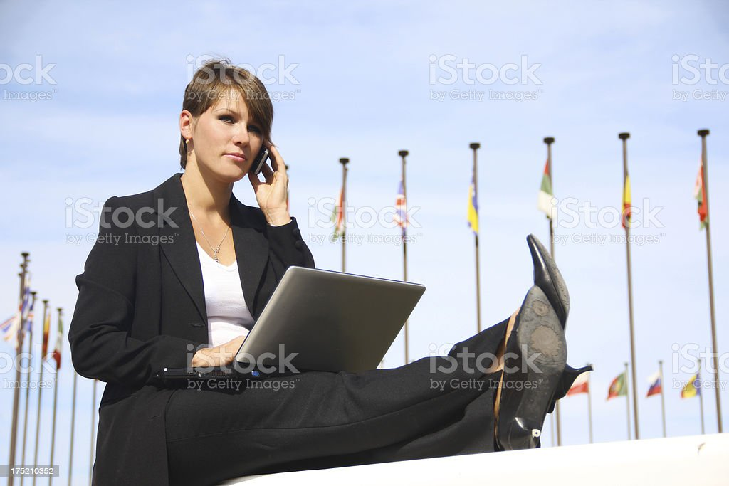 business woman - a moment of rest stock photo
