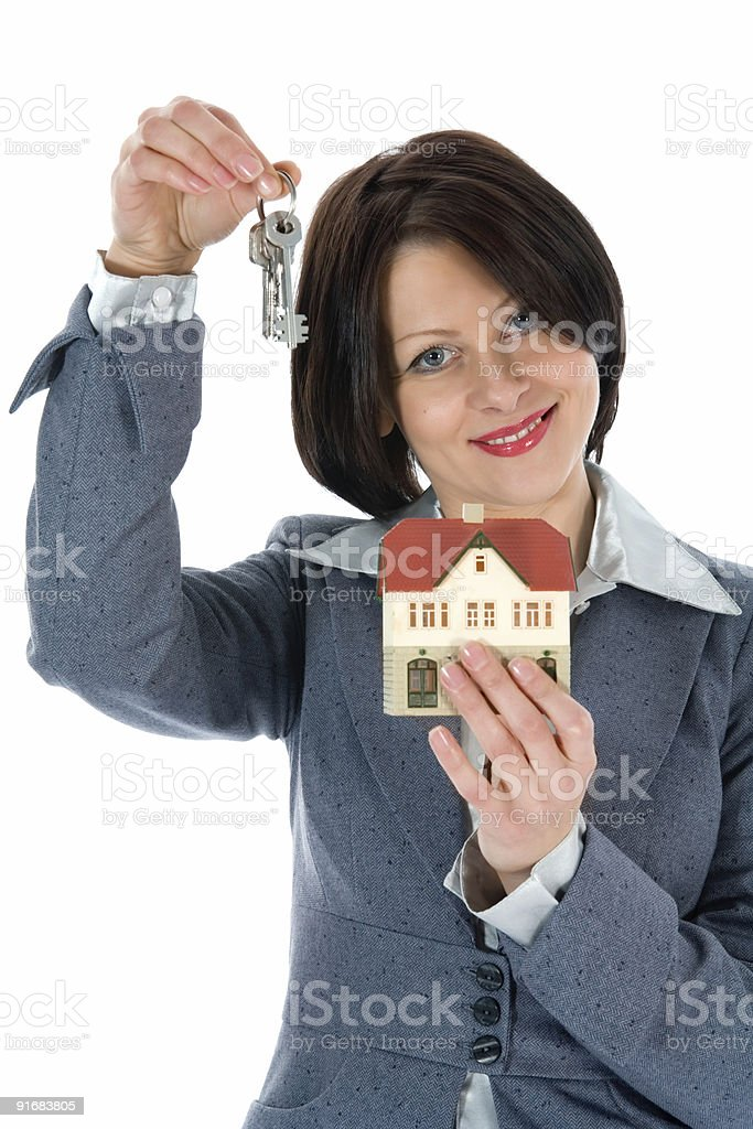 Business woman advertises real estate royalty-free stock photo