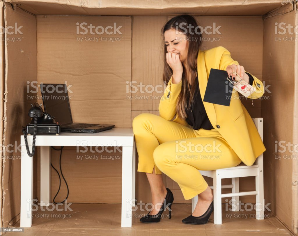 business woman ambushed with bribe stock photo