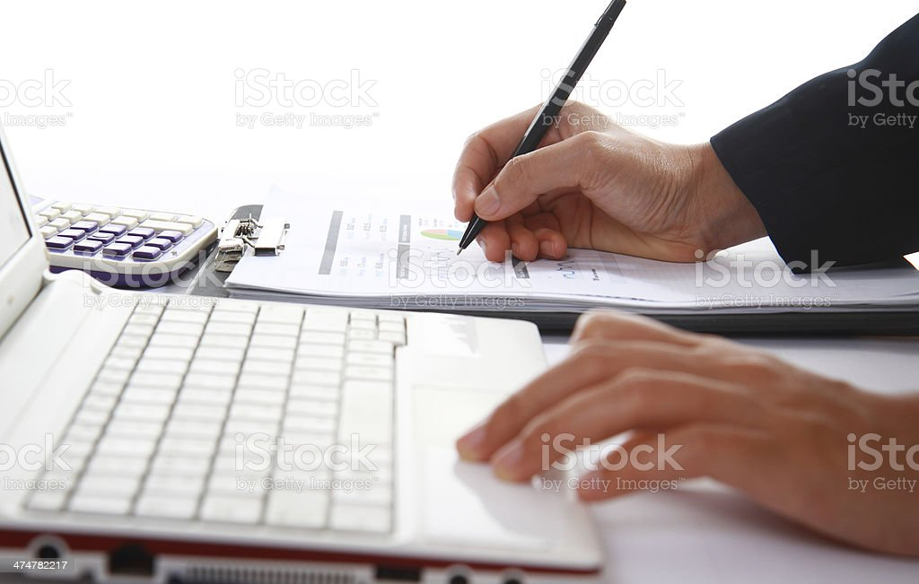 Business woman analyzing financial data stock photo