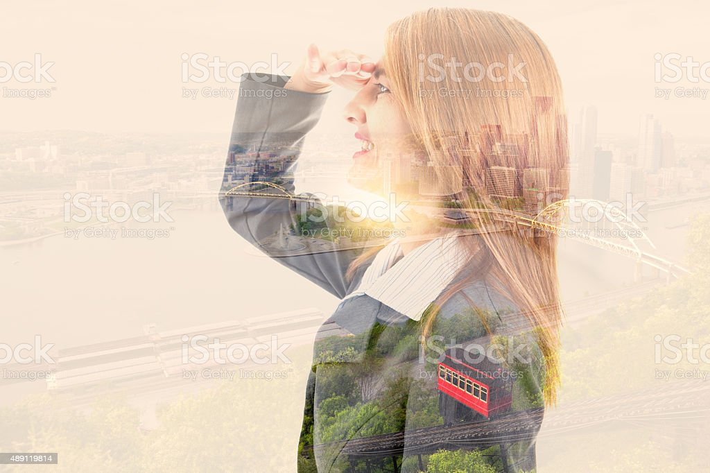 Business Woman And Downtown Pittsburgh Double Exposure stock photo
