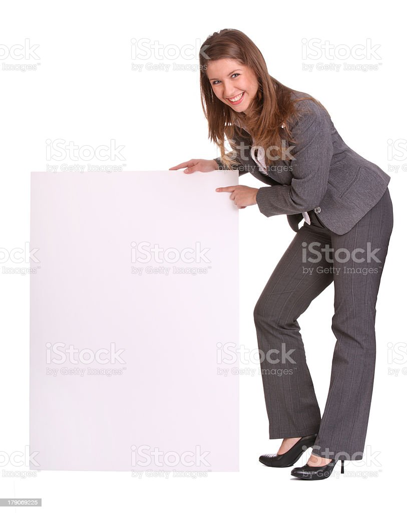 Business woman and empty banner. royalty-free stock photo