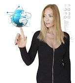 Business Woman and Interactive World