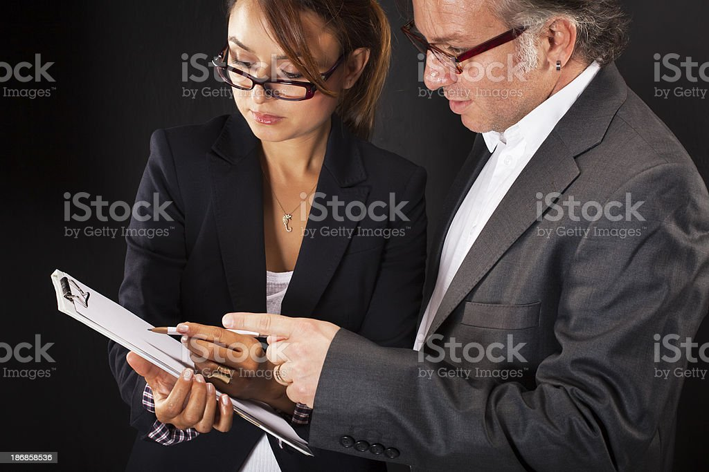 Business woman and man planning on new job royalty-free stock photo