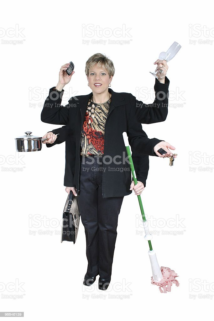 Business Woman and Mom Multi Tasking stock photo