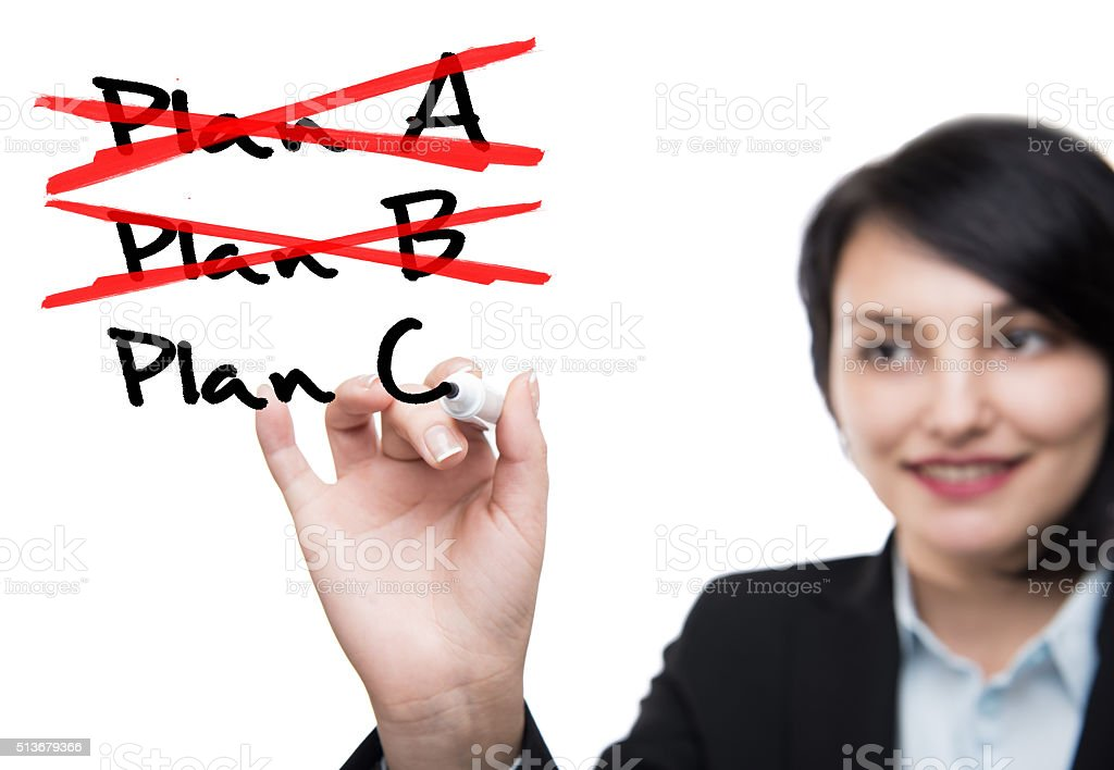 Business woman and plans stock photo