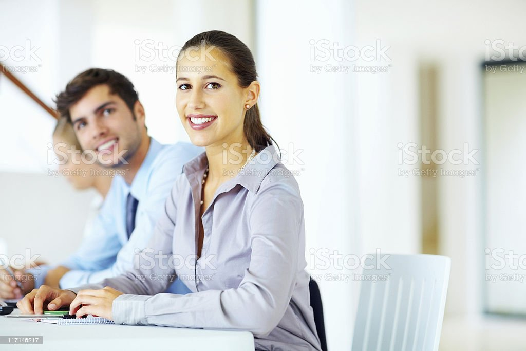 Business woman and team in meeting royalty-free stock photo