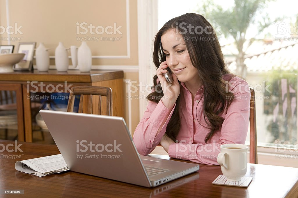 Business Woman at Home on phone royalty-free stock photo