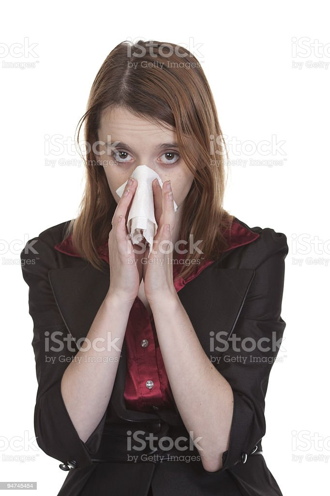 Business Woman Blowing Nose stock photo