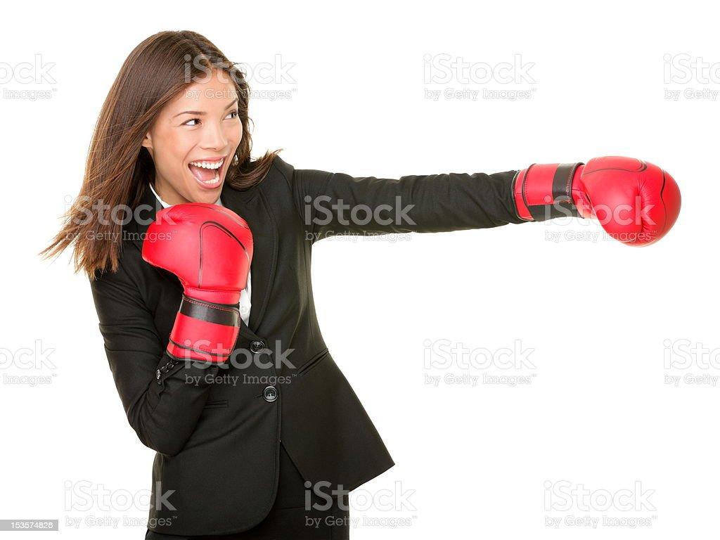 business woman boxing stock photo
