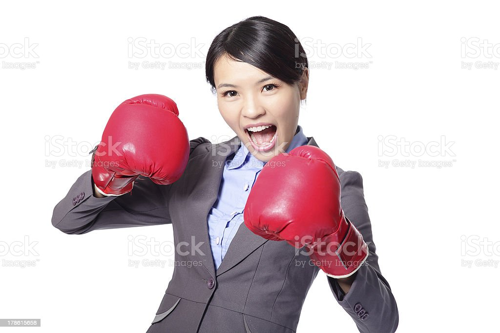 Business woman boxing ready to fight royalty-free stock photo