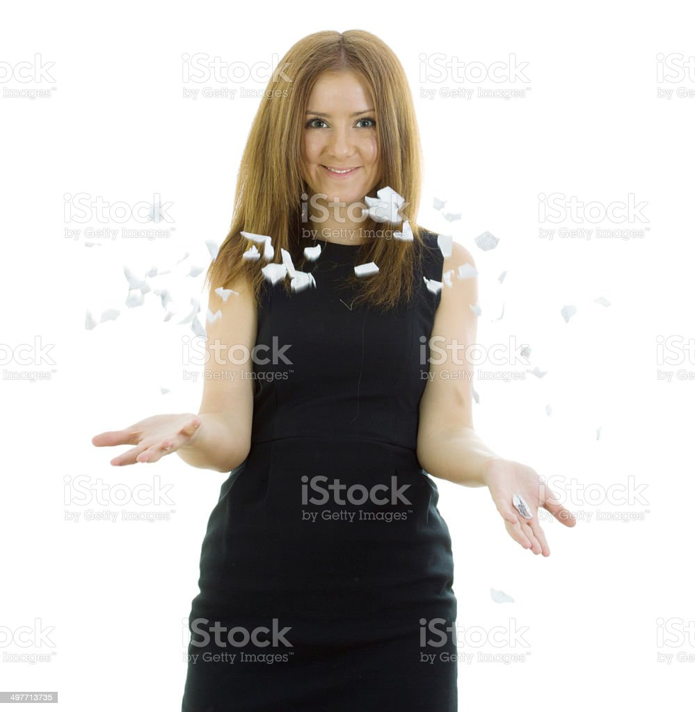 Business woman breaks the statement stock photo