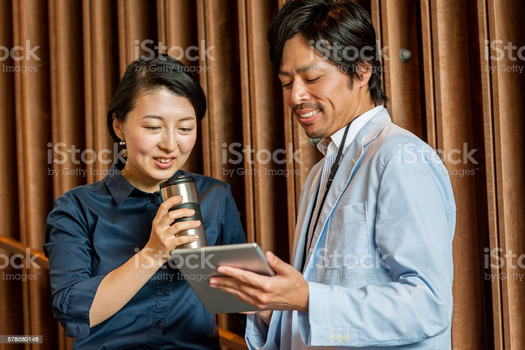 Business woman, business men talking ,Kyoto,Japan stock photo